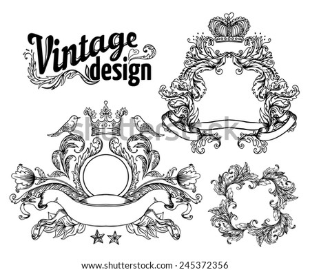 Vintage design elements set. Black outlines isolated on white. Vector illustration. - stock vector