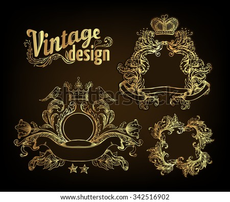 Vintage design elements set. Gold outlines isolated on black. Vector illustration in luxury style.