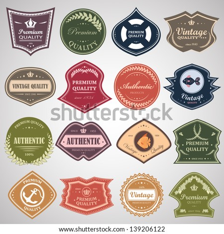 Vintage Design Elements Set. Labels In Retro And Vintage Style Isolated On Gray Background. Vector Illustration, Graphic Design.Lot Of Elements Useful For Design. Logo Symbols - stock vector