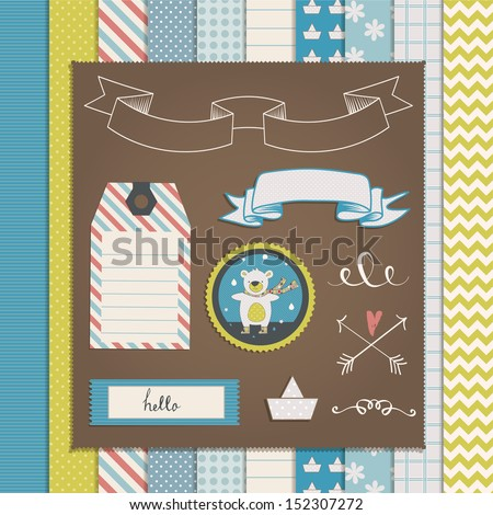 Vintage Design Elements: teddy bear, frames, ribbon, tag, star, flag and cute seamless backgrounds. For design  or scrap booking. - stock vector