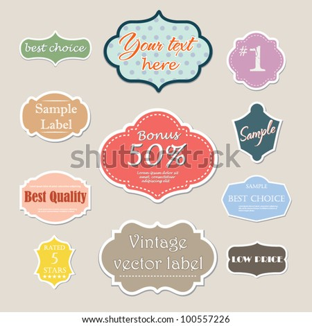 Vintage design label set - stock vector