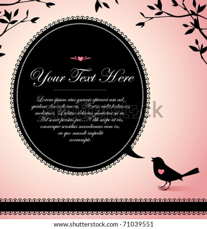 vintage design of a bird with a text bubble - stock vector