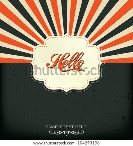 Vintage Design Template - Hello - stock vector