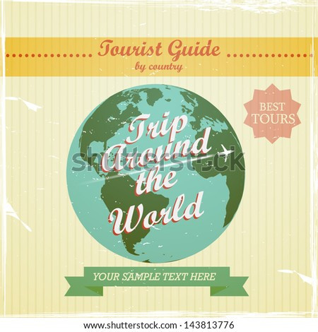 Vintage Design - travel guide to the world - stock vector