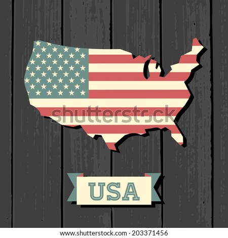 Vintage design US map on wooden background. - stock vector