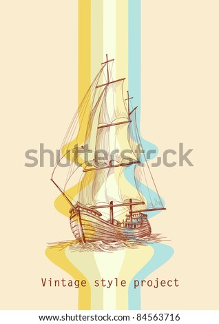 Vintage design waves and sailing boat - stock vector