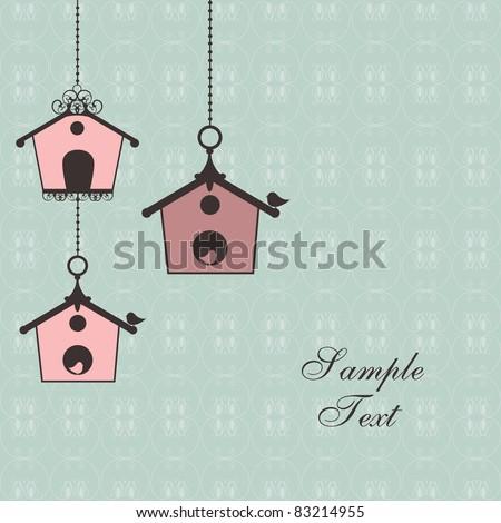 vintage design with birdhouses - stock vector