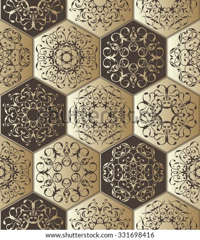 Vintage diamond ornament, vector jewelry seamless pattern. Lace elements for decoration. Luxury design. Can be used as a template for tile   - stock vector