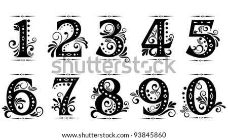 Vintage digits and numbers set with decorations, such a logo. Jpeg version also available in gallery - stock vector