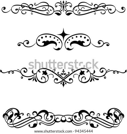 Vintage divide elements set on white - stock vector