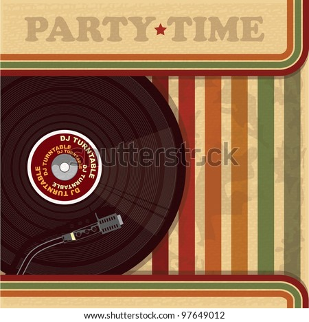 Vintage DJ poster or flyer - stock vector