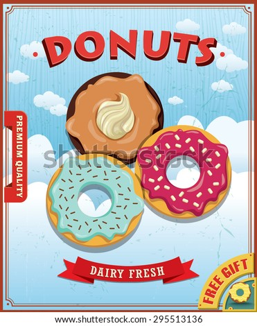 Vintage donut with coffee poster design - stock vector