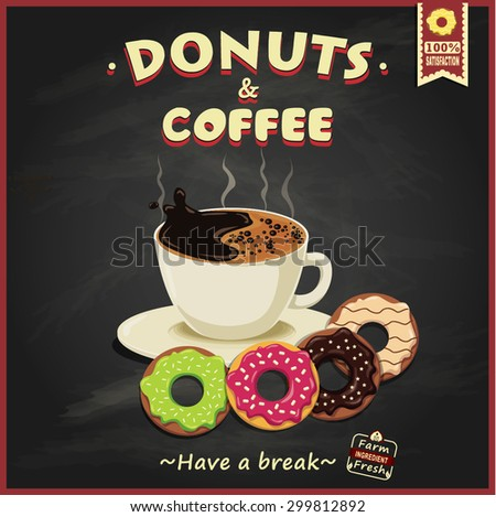 Vintage donuts and coffee poster design - stock vector