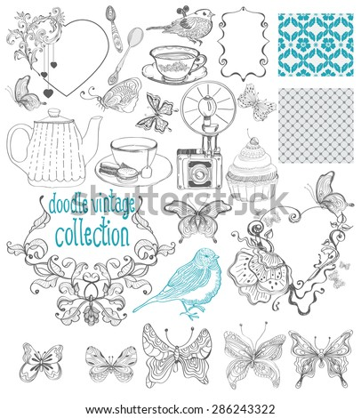 Vintage doodle elements - pattern, flower, butterfly and other for beautiful design, collection for wedding design, cards or other beautiful things, Vector - stock vector