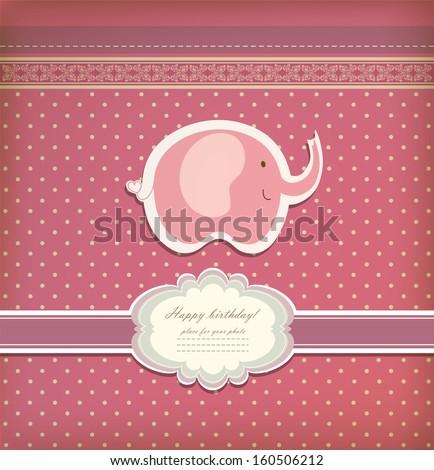 Vintage doodle elephant for frame wallpaper vector eps 10 - stock vector