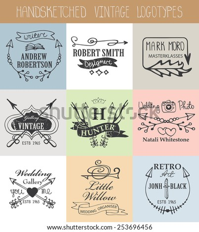 Vintage  doodle hand drawing logotype set.Business logo in sketchy style with arrows,swirls,icons,sign,ribbons.For brand,company, identity.Retro vector kit - stock vector