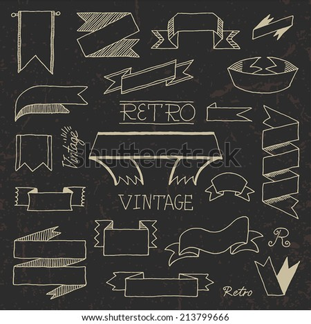 Vintage doodle hand drawn ribbons on dark set. Vector illustration.