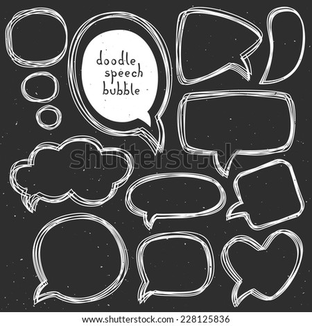Vintage doodle speech bubbles. Different sizes and forms. Hand drawn vector illustration. - stock vector