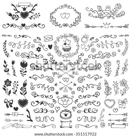 Vintage doodles curls swirls floral decorative em vetor stock vintage doodles curls swirls floral decorative collectionhand drawn borders flowers junglespirit Choice Image