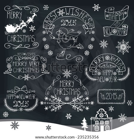 Vintage Doodles Merry Christmas,New Year Calligraphic And Typographic badges,labels  With Chalk Word Art,ribbons,snowflakes,swirls On Blackboard.Sheep year.Vector - stock vector