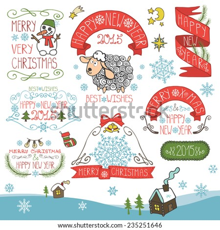 Vintage Doodles Merry Christmas,New Year Calligraphic And Typographic badges,labels  With Chalk Word Art,ribbons,snowflakes ,swirls,icons.Sheep year.Vector - stock vector
