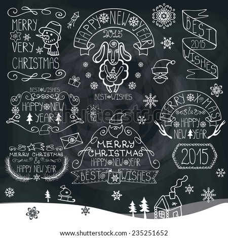 Vintage Doodles Merry Christmas,New Year Calligraphic And Typographic badges,labels  With Chalk Word Art,ribbons,snowflakes ,swirls On Blackboard.Sheep year.Vector - stock vector
