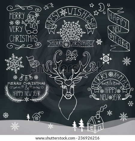 Vintage Doodles Merry Christmas,New Year Calligraphic And Typographic badges,labels  With  Word Art,ribbons,snowflakes ,swirls ,reindeer,icon,deer.Chalkboard  background.Outline Vector - stock vector