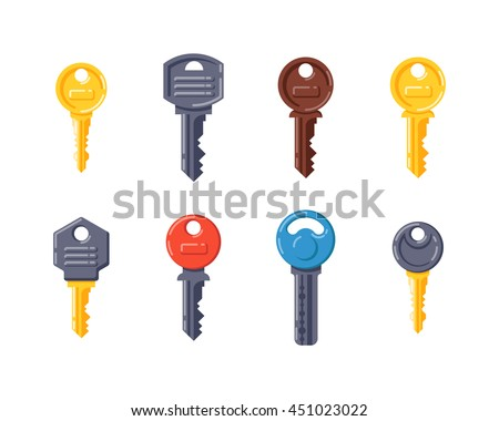 vintage door key isolated on white background different house keys design elements house security
