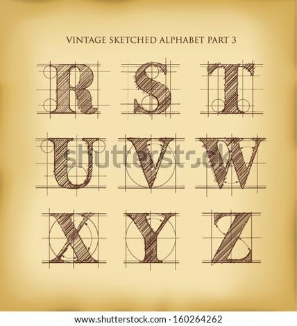 vintage drafted sketched letters set 3 - stock vector