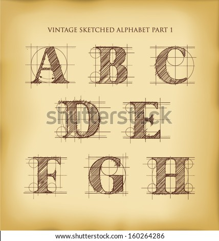 vintage drafted sketched letters set 1 - stock vector