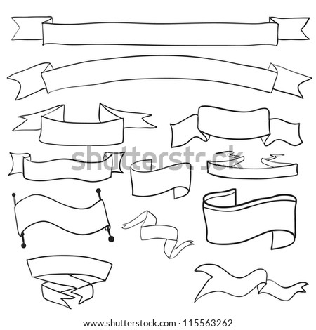 vintage drawing vector banners sets - stock vector