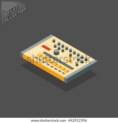Vintage Drum Machine. Musical Equipment. 3D Isometric Low Poly Flat Design. Vector illustration.