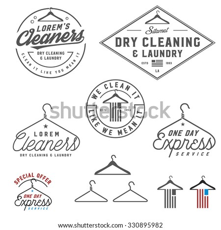 Vintage dry cleaning emblems, labels and design elements - stock vector
