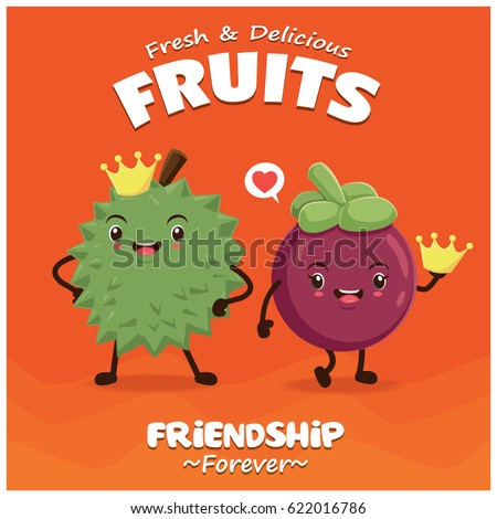 Vintage Durian poster design with vector durian & mangosteen character.