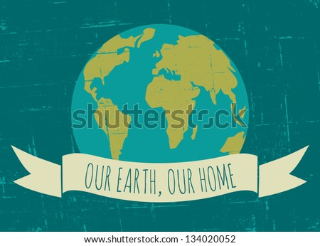 Vintage Earth Day poster. - stock vector