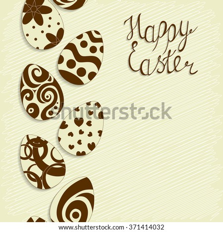 """Vintage Easter background. Seamless eggs pattern. The lettering """"Happy Easter"""". The handwritten letter. Hand-Drawn Easter eggs. Grunge background. Vector illustration. - stock vector"""