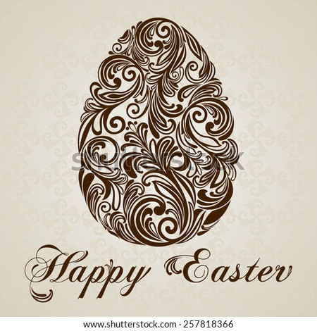 Vintage Easter  Greeting Card with egg. Vector illustration for your spring happy holiday design.  - stock vector