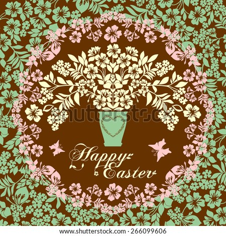 Vintage Easter Greeting Card with  flowers . Vector illustration for your spring happy holiday design.  - stock vector