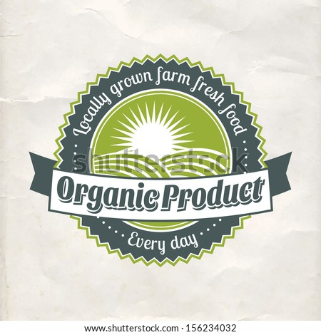 Vintage eco green sticker label of healthy organic natural farm fresh food  - stock vector