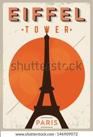 Vintage Eiffel Tower Poster  - stock vector