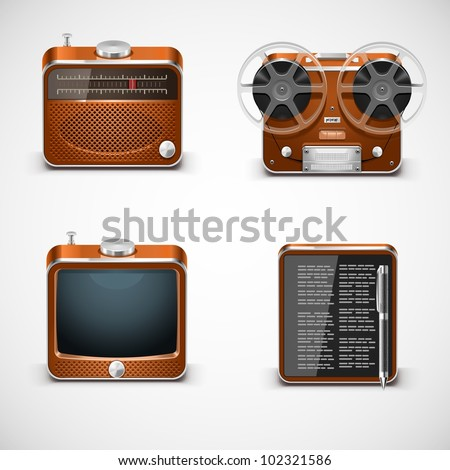 vintage electronics vector icons - stock vector