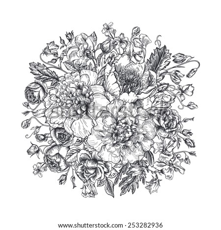Vintage elegant vector background with a bouquet of flowers. Peonies, roses, sweet peas, bell. Black and white vector illustration. Monochrome. - stock vector