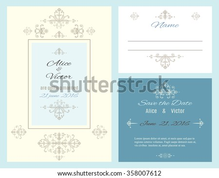 Vintage elegant wedding invitation cards set. Wedding collection. Can be used as greeting cards. Vector illustration