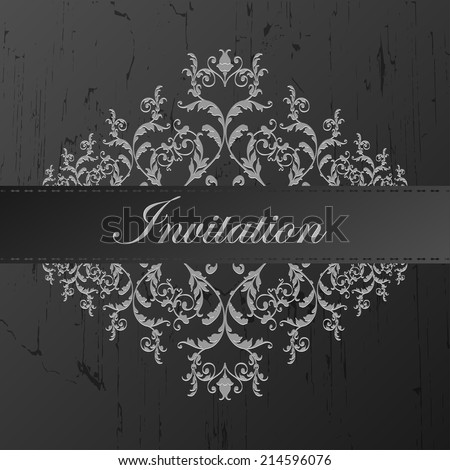 Vintage elegant wedding invitation with flowers. Vector illustration.  - stock vector