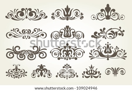 Vintage element and page decoration. Borders set for ornate. Vector illustration - stock vector
