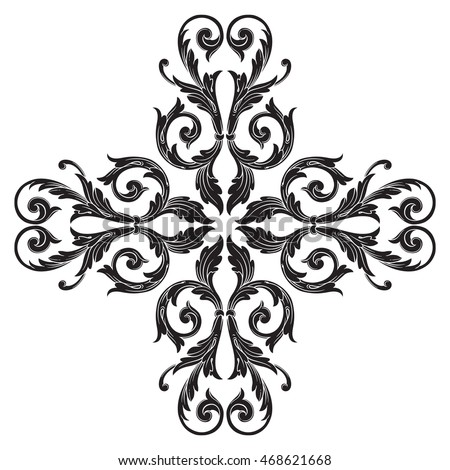 Vintage Element Engraving Retro Ornament Pattern Stock Vector