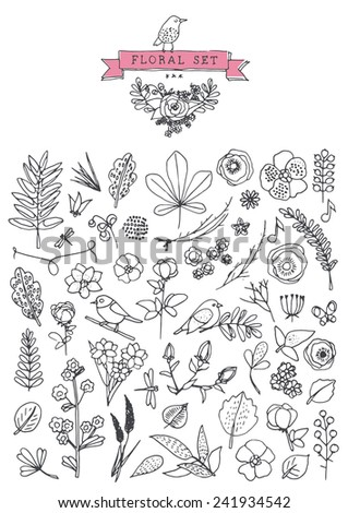 Vintage elements - floral - hand drawn style - stock vector