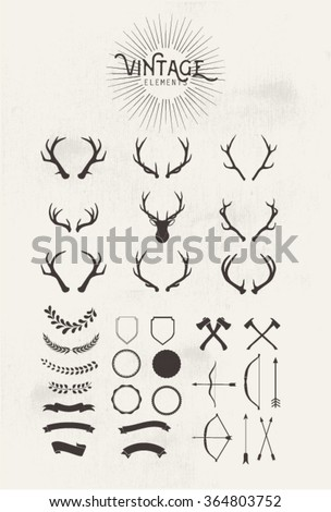Vintage elements.Ribbons Designers Collection.Styled Deer Antlers - Designers Collection