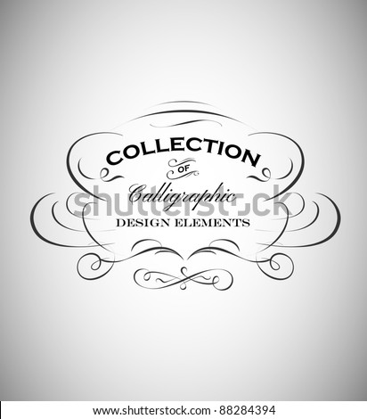 vintage emblem made of separate calligraphic elements - stock vector