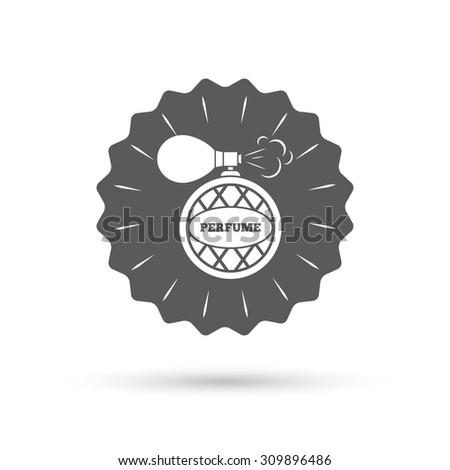 Vintage emblem medal. Perfume bottle sign icon. Glamour fragrance symbol. Classic flat icon. Vector - stock vector